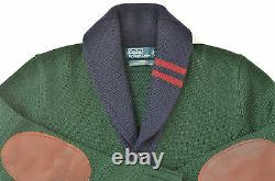 New Polo Ralph Lauren Men's Heavy Merino Wool Elbow-Patch Shawl Cardigan Sweater
