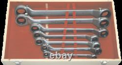 Offset Ratchet Ring Spanner Wrench Set Metric Heavy-Duty 7 Piece T&E Tools GW7S