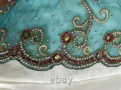 Pink&Green heavy embriodred 3 piece ready made lengha sari size 8-10