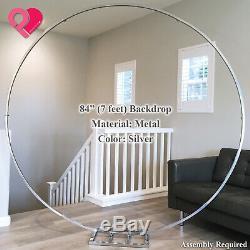 Round Circle Wedding Arch Backdrop Gold Silver Wreath Hoop Centerpiece 24-84