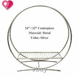 Round Circle Wedding Arch Backdrop Gold Silver Wreath Ring Centerpiece 24-84