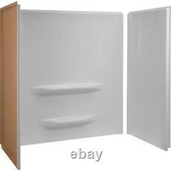 Seasons Keating Heavy-Duty Bathtub Wall Three-Piece Nail-Up White Acrylic