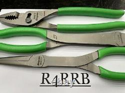Snap-On Tools USA NEW 3 Piece GREEN Soft Grip Heavy Duty Pliers Lot Set