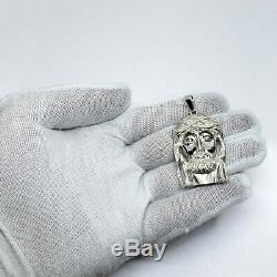 Solid 10K White Gold Heavy Large Diamond Jesus Piece Face Pendant 12.4 grams 2
