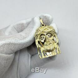 Solid 10K Yellow Gold Heavy Large Diamond Jesus Piece Face Pendant 12.4 grams 2