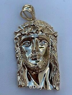 Solid 10k Yellow Gold VS Natural Diamond Jesus Piece Pendant Made In Italy HEAVY