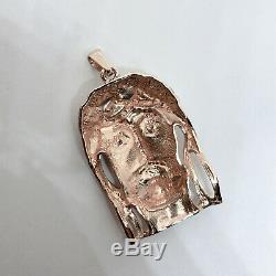 Solid 14K Rose Gold Heavy Large Diamond Jesus Piece Face Pendant 13.7 grams 2