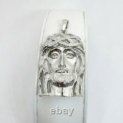 Solid 14K White Gold Heavy Jesus Piece Face Pendant, 13.7 grams, 2 long