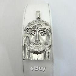 Solid 14K White Gold Heavy Large Diamond Jesus Piece Face Pendant 14.0 grams 2