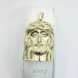 Solid 14K Yellow Gold Heavy Jesus Piece Gold Jesus Pendant 13.7g 2