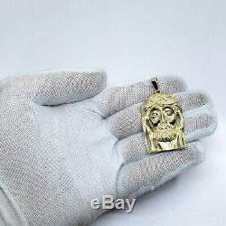 Solid 14K Yellow Gold Heavy Large Diamond Jesus Piece Face Pendant 14.0 grams 2