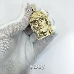 Solid 18K Yellow Gold Heavy Jesus Piece Face Pendant, 16.1 grams, 2 long