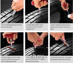 Tire Plug Repair Kit Heavy Duty Flat Patch Puncture Fix Tools Car Truck 98Pcs