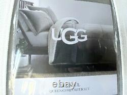 UGG $278 Blissful Queen Sherpa Quilted Comforter 3 Piece Set NEW Seal Grey Heavy