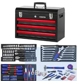 WORKPRO W009044A 408-Piece Mechanics Tool Set with 3-Drawer Heavy Duty Metal