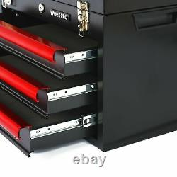 WORKPRO W009044A 408-Piece Mechanics Tool Set with 3-Drawer Heavy Duty Metal Box