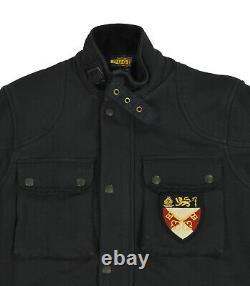 Women's Polo Ralph Lauren Rugby Black Heavy Fleece Belted Crest Jacket New