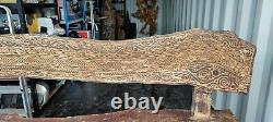 Wooden Hand Carved/sculptured Indoor/ Garden Bench Ornate Heavy One Piece 3 Seat