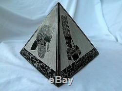 X-Large Heavy Egyptian Basalt Stone Pyramid Set Pharaoh Horus Isis 3 Piece #11