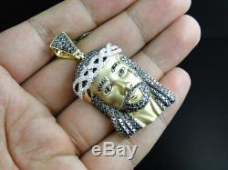 Yellow Gold Finish 2 Inch Diamond Jesus Face Piece Heavy Head Pendant Charm