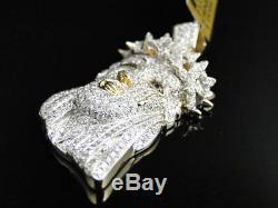 10k Or Jaune 1,5 Pouces Diamant Jésus Visage Piece Heavy Head Charm Pendentif