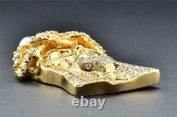 10k Or Jaune 1,60 Pouces Diamant Mini Jésus Visage Piece Lourd Pendentif 1,93 Ct