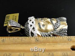 10k Or Jaune 2 Pouces Diamant Jésus Visage Piece Heavy Head Charm Pendentif