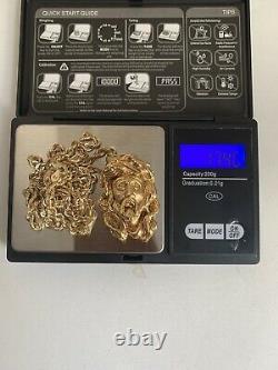 18ct Solid Gold Jesus Piece & 14ct Chaîne D'or 4 MM 17.40g Lourd
