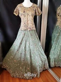 4 Pièces Robe Indienne Lehnga Mariée Pakistani 3d Lourd Brodé