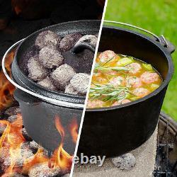 7 Pièce Poids Lourd Néerlandais Four En Fonte Cookware Camping Fire Cooking Pot Box