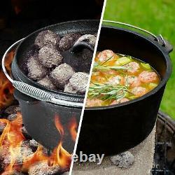 7 Pièces Heavy Duty Dutch Oven Cast Iron Cookware Camping Fire Cooking Box Nouveau