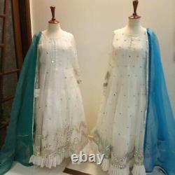 Agha Noor-3piece White Heavy Embroidered Sheesha Work Dress Moyen Original