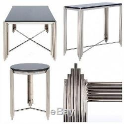 Art Deco Nickel Noir Granite 4 Piece Lounge Console Coffee Table Miroir Côté