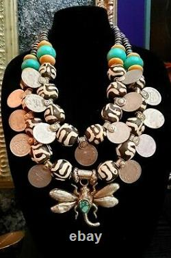 Batik Bone Tribal Chest Piece Katrox Kuchi Coin Ethnic Statement Collier Lourd