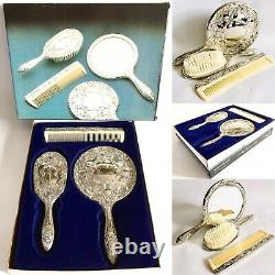 Boxed Vintage 1960 Lourd 3 Pièces En Argent Plaqué Brosse, Miroir Et Peigne Vanity