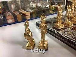 Brass Égyptien Jeu D'échecs Lourd Et Mère Et De La Carte Perle Bois Made In Egy