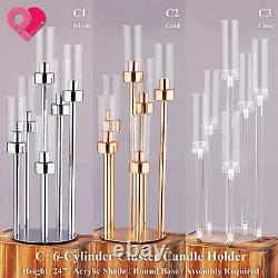 Cluster Candle Holder Acrylic Shade Wire Flower Centerpiece Stand Pilier Mariage