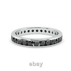 Dernier Morceau. 2.9mm 1ct Rond Noir Diamant Anneau D'éternité, Or Blanc Lourd