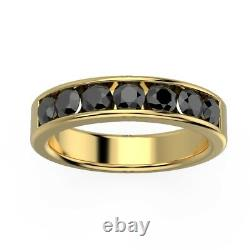 Dernier Morceau. ! 4 MM 0.75ct Black Diamond Half Eternity Ring, Heavy Or Jaune