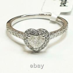 Dernière Minute. 0.40ct Natural Heart Diamond Bague De Fiançailles Halo, Or Blanc Lourd