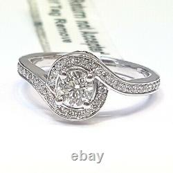 Dernière Pièce 0.70ct Round Diamond Twisted Halo Engagement Ring, Heavy White Gold