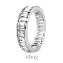 Dernière Pièce 3.5mm 2.00ct Baguette Diamant Anneau D'éternité Pleine, 18k Or Blanc Lourd