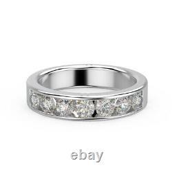 Dernières Pièces. D/vvs 1.50ct Round Diamond Half Eternity Ring En Platine Lourd
