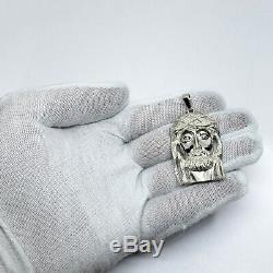 En Or Blanc Massif 10k Lourd Gros Diamant Jésus Piece Pendentif Visage 12,4 Grammes 2