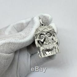 En Or Blanc Massif 14k Lourd Gros Diamant Jésus Piece Pendentif Visage 14,0 Grammes 2