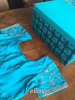 Engagement De Mariée Indienne De Mariage Sari Bleu Vert Turquoise 3 Piece Dupatta Lourd