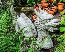Grand Étui En Pierre De Dragon De 3 Pièces Ornement De Jardin Très Lourdit 65kg Par Dgs Uk