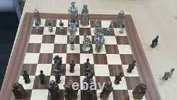 King Henry VIII Heavy Metal Chess Set Pièces D'étain Métallique Seulement Dans La Boîte Pas De Planche