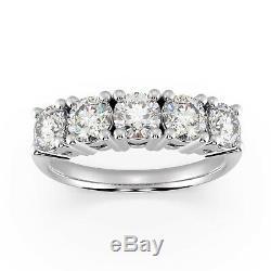 Last Piece Certifié 1,60 Ct Diamant Rond 5 Pierre Bague D'éternité, Lourd Platinum