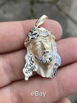Mens Réel 14k Solide Jaune Or Jésus Visage Lourd Morceau De 11 Grammes 1.5x1 Collier